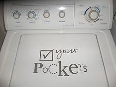 vinyl lettering, need to do this to my WASHER. <3