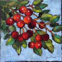 """Daily Paintworks - """"Its the Berries"""" - Original Fine Art for Sale - © Nancy F. Morgan"""