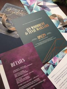 Copper foil geometric, jewel-toned wedding invitation suite with navy envelopes and wine watercolor. Featured on Oh So Beautiful Paper. ©Papertree Studio