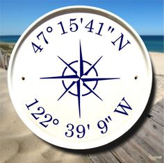 Nautical Compass & Coordinates House Plaque / Boat House Sign / Latitude Longitude Sign / Sail Boat Decor / Nautical Sign/Customizable Gifts