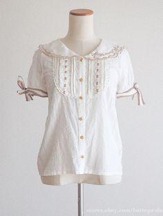 LIZ LISA Sailor-uniform style Ribbon Blouse dress Lace White Size0 Lolita Japan #LizLisa #Blouse #Lolita