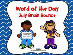 Great for summer school! This great vocabulary game is based on words from our July Word of the Day calendar. It is one of our new Brain Bounce games to help your kiddos practice ELA skills. The teacher can divide the class into 2 teams and have the kids take turns answering questions about these vocabulary words. You can also use these cards in a center or as a Scoot game. $ Included: -31 Cards -Directions to Brain Bounce -Recording and Answer sheets