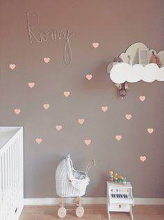 Wandsticker für das Kinderzimmer. Verschönere Dein Zuhause mit Aufklebern für Deine Wand in Herzform / wall sticker for the nursery, wall tattoos in the shape of hearts made by odmomani via DaWanda.com