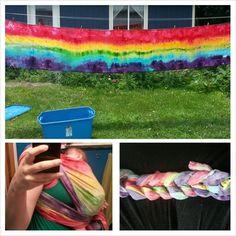 Rainbow ice dye with Dylon. Size 6 osnaburg wrap