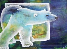 Doo it - just doo it: Selvforglemmende og lyksaligt! Polar Bear, acrylics, 80 x 60 cm  65bluebell: Jeg er helt forelsket i dette maleri. Det er så smukt i såvel farver som motiv.