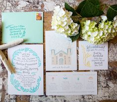 Two color letterpress beach wedding invitation suite with hand drawn elements and event iconography by Shindig Bespoke • Letterpress by Thomas Printers • Photos by Ashe Photography