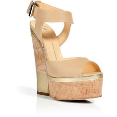GIUSEPPE ZANOTTI Beige And Gold Cork Wedge Sandals ($426) ❤ liked on Polyvore