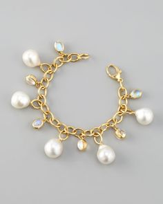 """Baroque+Pearl+Bracelet+by+Assael+at+Neiman+Marcus.   18-karat yellow gold setting. Naturally hued, cultured South Sea pearl drop. 13.85-carat. moonstone detail. 7""""L. Made in the USA of Australian material.  Assael Baroque Pearl Bracelet CAD 9650.34"""