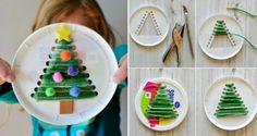 feinmotorik fördern kinder-pappteller-nähen-plüschdraht-weihnachtsbaum-stanzen-spaß