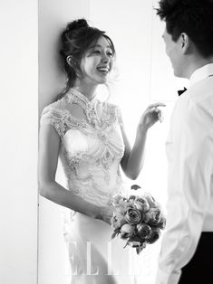 Lovely black and white wedding photo by ELLE KOREA