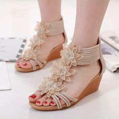 US$ 40.58 - 2021 Summer Flowers Shoes Women Wedge Sandals Fashion Ladies Wedge Shoes Casual Woman Summer Holiday Shoes A1456 - www.joymanmall.com Holiday Shoes, Comfortable Wedges, Flower Shoes, Roman Fashion, Rhinestone Sandals, Sandals For Sale, Womens Shoes Wedges, Wedge Sandals, Gladiator Sandals