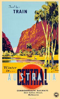Winter in Central Australia  Australia by James Northfield c.1960  http://www.vintagevenus.com.au/vintage/reprints/info/TV582.htm