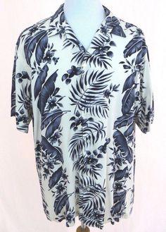 Polo Ralph Lauren Hawaiian Shirt XL Blue Floral Fern White Clayton Aloha Camp #PoloRalphLauren #Hawaiian