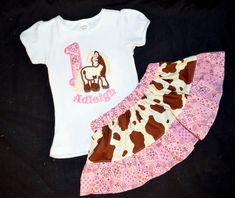 Cowgirl Horse Skirt and Personalized Shirt Outfit For Toddler Girls - pinned by pin4etsy.com