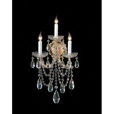 Crystorama Lighting Group 4423-CL Maria Theresa 3 Light 11 Wide Wall Sconce wit (polished chrome / hand polished (Polished Chrome/Hand Polished))