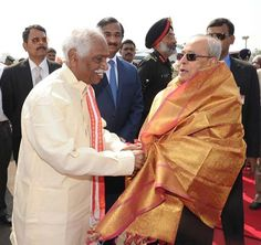 At farewell of President of India, Shri Pranab Mukherjee Ji along with Governor, Shri E.S.L.Narasimhan and Chief Minister of Telangana, Shri K. Chandrashekhar Rao at Hakimpet Airport, Hyderabad on 31st December, 2016.