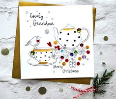 Merry Christmas Grandma Tea Robin Cakes by CardsbySABIVODesign
