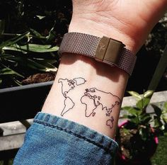Ephemeral Tattoo World Map - - Travel Elegant Tattoos, Subtle Tattoos, Pretty Tattoos, Unique Tattoos, Beautiful Tattoos, Cool Tattoos, Wrist Tattoos, Mini Tattoos, Body Art Tattoos