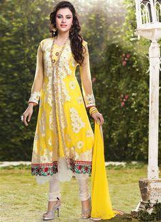 Lavish Yellow Crepe Embroidered Anarkali Suit