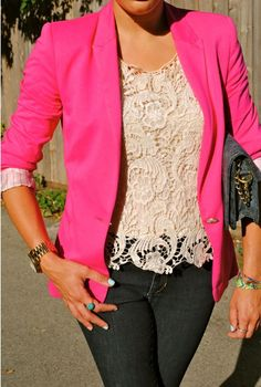 lace + blazer + jeans = perfect outfit everytime