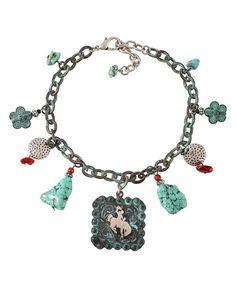 Turquoise Stone & Charm Boot Bracelet - Sheplers