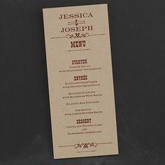 Terrific Typography - Menu Card - Kraft - Wedding Menu Ideas - Wedding Menu Cards - Menu Cards Wedding
