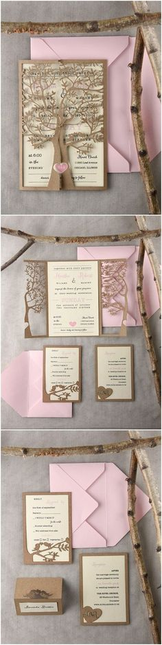 Rustic country laser cut tree gold and blush pink wedding invitations @4LOVEPolkaDots