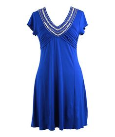 Take a look at this Royal Embellished Short-Sleeve Dress by Peppermint Bay on #zulily today!
