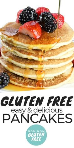 Gluten Free Pancakes that are sure to become a family weekend staple. These panc… Gluten Free Pancakes that are sure to become a family weekend staple. These pancakes can't get any easier to quickly whip together on a Sunday morning. Crepes Sin Gluten, Pizza Sin Gluten, Dessert Sans Gluten, Gluten Free Cheesecake, Gluten Free Carrot Cake, Gluten Free Waffles, Gluten Free Banana Bread, Gluten Free Baking, Is Milk Gluten Free