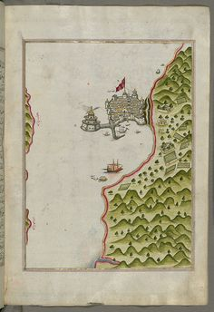 Illuminated Manuscript The Methana (Mutūn) fortress in the Saronikos (Aiyina) Bay, from Book on Navigation, Walters Art Museum Ms. W.658, fol.130b