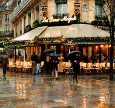 Paris Cafe in the rain