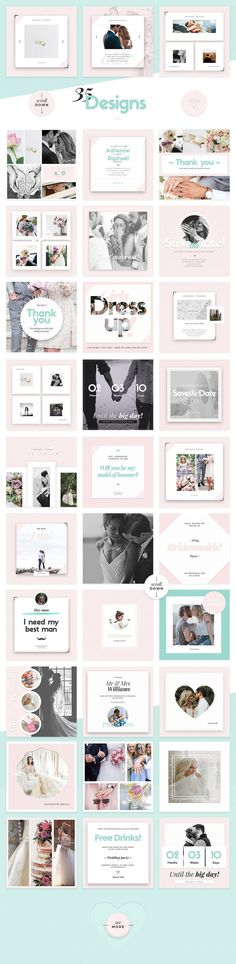 Wedding Social Media Templates - Made for couples about to be married or newlyweds who want to share their happiness with friends and family in a stylish and beautiful way. Besides the personal use, these templates are perfect for all professionals such as wedding planners, organizers or wedding agencies. By NordWood $22 #affiliatelink