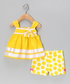 Take a look at this Kids Headquarters Yellow Stripe Top & Polka Dot Shorts - Infant, Toddler & Girls on zulily today!