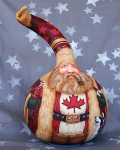Canadian Santa Claus, hand painted gourd, Santa collector gift, 11 1/2 inches tall, 7 inch diameter. $160.00, via Etsy.