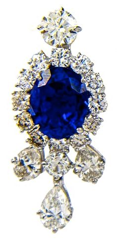 Harry Winston Sapphire & Diamond Ear Pendant