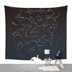 "Society6 Falling Star Constellation Wall Tapestry Small: 51"" x 60"""