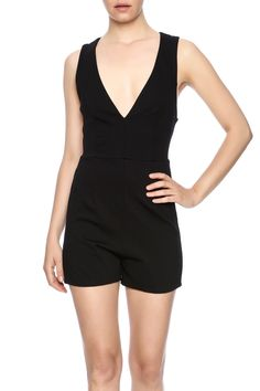 Black romperwith a plunging neckline, crisscross open back, and exposed zipper.   Kiera Cross Back Romper by Compendium boutique. Clothing - Jumpsuits & Rompers - Rompers Pennsylvania