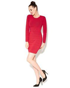 Red Betsey Zip Back Knit Dress, Back zipper.