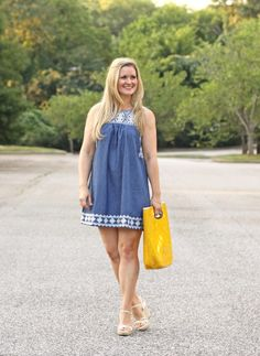 chambray embroidered dress. perfect for summer