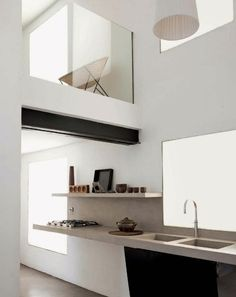 goodnes!!love this! #kitchen #design modern + white + simple line + concrete slab counter + streamline