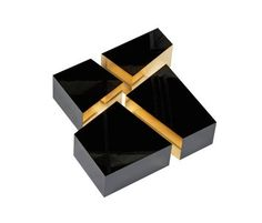 Love this! It can be divided into 4 asymmetrical blocks to be combined as you like. Inner surfaces of blocks coated with mirror-laminated material, glossy chrome or glossy gold. Outer surfaces as well as table surface in high-gloss lacquer.