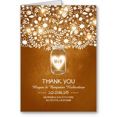 Orange mason jar floral wedding thank you card