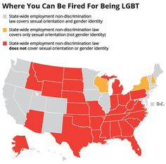 Map Of The States Where People Can Be Legally Fired For Their Sexual Orientation