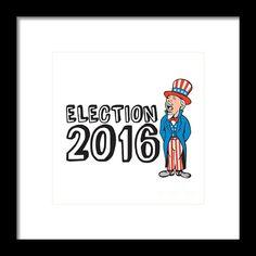 Election 2016 Uncle Sam Shouting Retro Framed Print By Aloysius Patrimonio