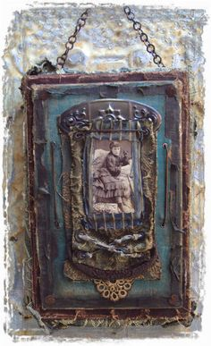 I'm just noodling around with the idea of using sheet metal as a canvas. Mixed Media Artwork, Metal Artwork, Mixed Media Collage, Collage Art, Medieval, Altered Book Art, Assemblage Art, Handmade Books, Book Making