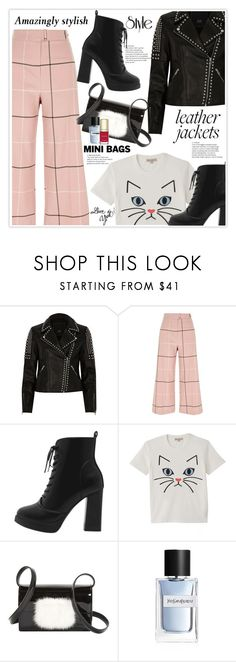 """Leather Jackets & Mini Bags"" by stranjakivana ❤ liked on Polyvore featuring River Island, Paul & Joe, Yves Saint Laurent, Dolce&Gabbana, leatherjackets, minibags and polyvreeditorial"