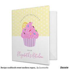 Recipe cookbook sweet modern cupcake hearts yellow 3 ring binder