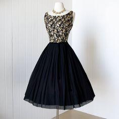 1950's Carol Craig New York black silk chiffon and metallic cherry blossom brocade cocktail party dress