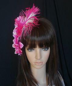 Pink/Fuschia Flower Feather Hair Fascinator by IrmasElegantBoutique on Etsy