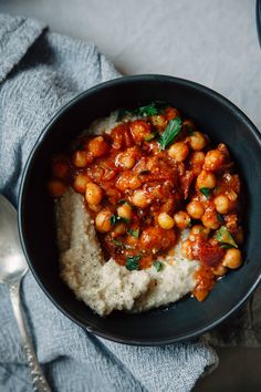 Seven spice chickpea stew with tomato and coconut is an easy and healthy weeknight meal.